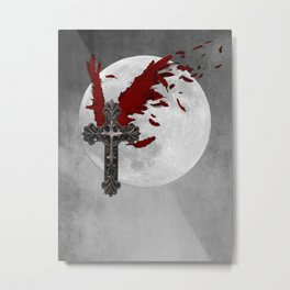 Red Black Grey Salvation Cross Wings Moon Gothic Art A624 Metal Print