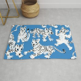 Mystical White Tigers at Play Rug