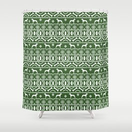 Great Dane fair isle christmas holiday green and white minimal pattern gifts for dog lover Shower Curtain