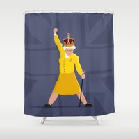 queen Shower Curtains featuring QUEEN by Bakus