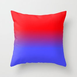 Neon Red and Bright Neon Blue Ombre Shade Color Fade Throw Pillow