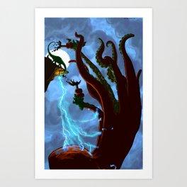 Part 6: Brontosorus Vs. The Giant Land Octopus Art Print