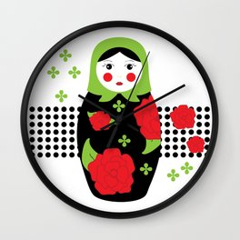 Pop-art Russian Doll Matryoshka Wall Clock
