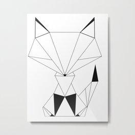 Geometric Fox Black Metal Print
