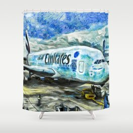 Emirates A380 Airbus Art Shower Curtain