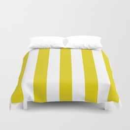 Citrine yellow - solid color - white vertical lines pattern Duvet Cover