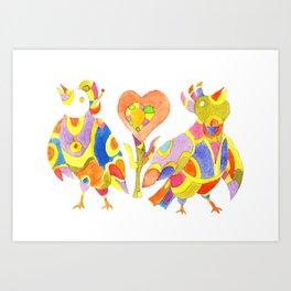 zwei singende Vogel Art Print