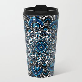Blue and White Mandala Metal Travel Mug