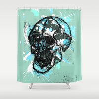 rave Shower Curtains featuring Rave Skull With Blue by Cat Milchard