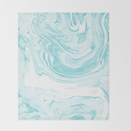 Giro - spilled ink abstract marble watercolor japanese painting marbling unique mint pastel  Throw Blanket