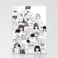 it crowd Stationery Cards featuring crowd  by Milly Scarlett
