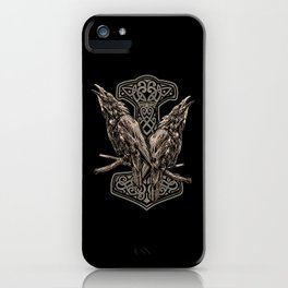 HUGINN AND MUNINN AND A MJÖLNIR iPhone Case