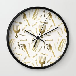 Good Hair Day – Gold Palette Wall Clock