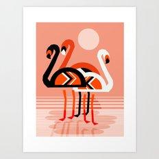 Posse - flamingo throwback nostalgia retro neon art print hipster trendy style minimal abstract geo Art Print