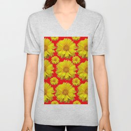 """YELLOW COREOPSIS """"TICK SEED"""" FLOWERS RED PATTERN Unisex V-Neck"""