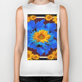 Decorative Sunflower Patterns Blue Leaves Biker Tank