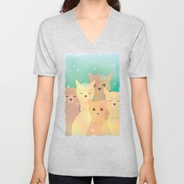 Alpaca Family I - Mint Green Snow Background Unisex V-Neck