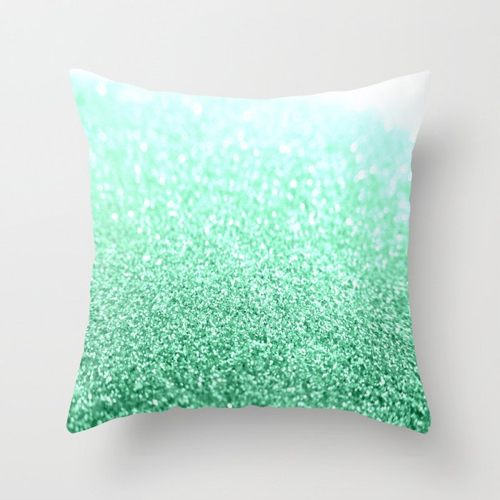 Seafoam Green Glitter Throw Pillow By Vintageeal623