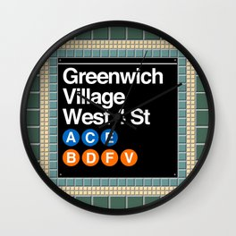 subway greenwich village sign Wall Clock