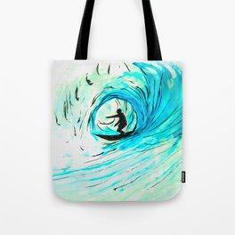 Surfer in blue Tote Bag