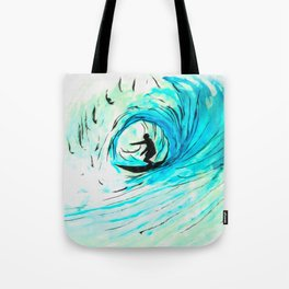 Surfer in blue Tote Bag