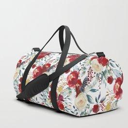 Elegant burgundy pink teal gray watercolor holly leaves floral Duffle Bag