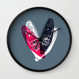 moccasin red and blue Wall Clock