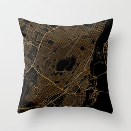 Black and gold Montreal map Throw Pillow