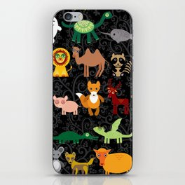 Set of funny cartoon animals character on  black seamless background. zoo. iPhone Skin
