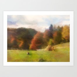 Autumn With Mountain Fox And Haystack Watercolor Art Print