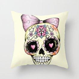 Sugar Skull (Yellow) Throw Pillow