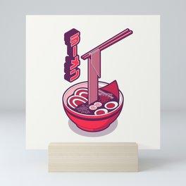 Japanese Ramen Isometric Minimal - White Red Mini Art Print