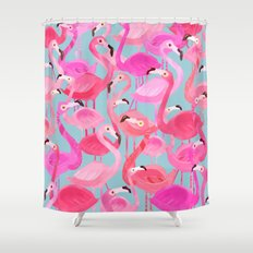 Flamingo pattern grey Shower Curtain