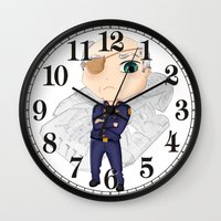battlestar galactica Wall Clocks featuring Colonel Tigh | Battlestar Galactica by The Minecrafteers