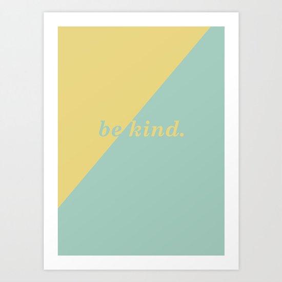 Geometric Be Kind in Gold & Mint Art Print