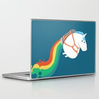 humor Laptop & iPad Skins featuring Fat Unicorn on Rainbow Jetpack by Picomodi