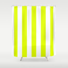 Lemon lime green - solid color - white vertical lines pattern Shower Curtain