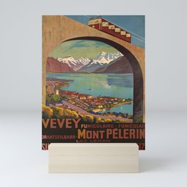 retro  Vevey Mont Pelerin vintage poster Mini Art Print