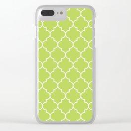 Moroccan Trellis, Latticework - Green White Clear iPhone Case