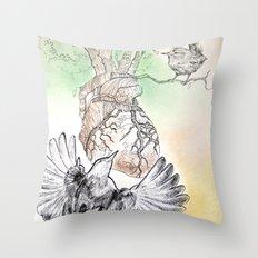 Green Bough, Singing Bird Throw Pillow