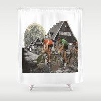 tour de france Shower Curtains featuring Le tour de France by a wardrobe in the space
