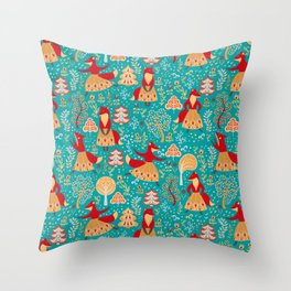 Dancing foxes in a fairy forest. Folk Art. Seamless pattern. Green background. Throw Pillow