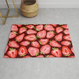 Fresh strawberry slices watercolor dark bg Rug