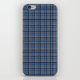 Navy Blue Criss Cross Weave Hand Drawn Vector Pattern Background iPhone Skin