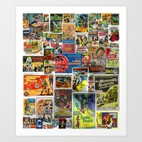 movie posters Art Prints featuring Vintage Sci-Fi Movie Posters     Collage by Silvio Ledbetter
