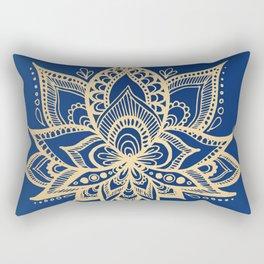 Gold and Blue Lotus Flower Mandala Rectangular Pillow