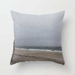 Cloudy Beach Day Throw Pillow