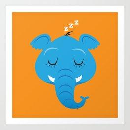 Sleepy Elephant Art Print