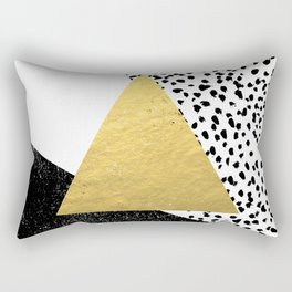 Erida - abstract black and white gold triangle painted dots minimalist decor nursery dorm college ar Rectangular Pillow