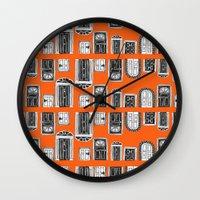 doors Wall Clocks featuring Doors by MJOillustration